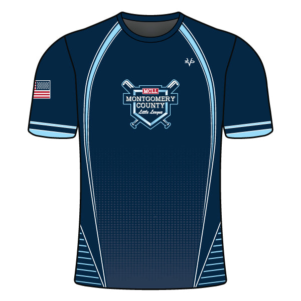 Evo9x MONTGOMERY LITTLE LEAGUE Full Dye Sublimated Crew Neck Shirt Navy