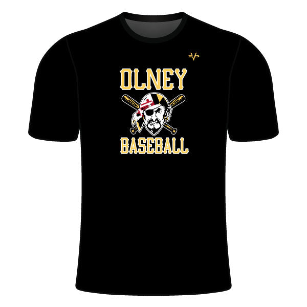 OLNEY PIRATES BASEBALL CREW NECK SHIRT (PIRATE LOGO - BLACK)