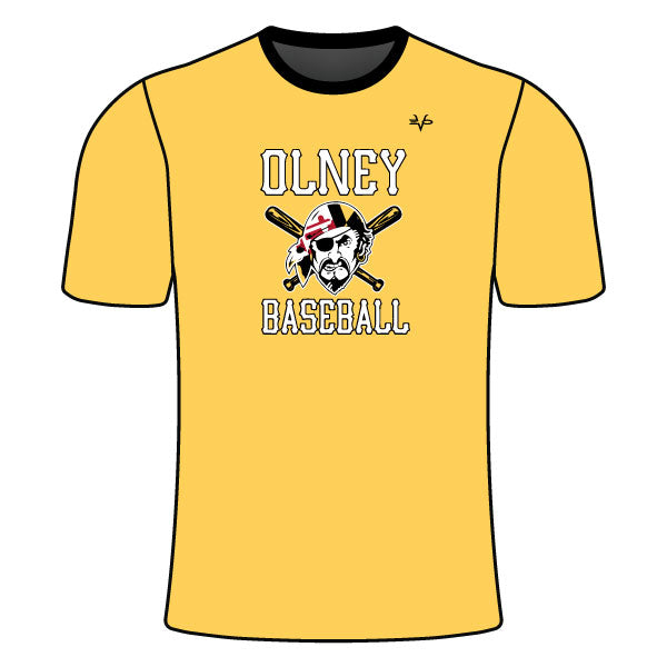 OLNEY PIRATES BASEBALL CREW NECK SHIRT (PIRATE LOGO - ATHLETIC GOLD)