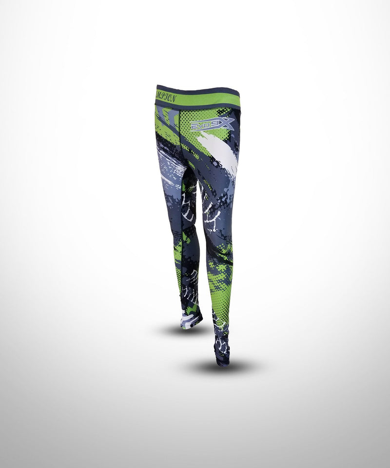 WOMENS FULL DYE SUBLIMATED GRENN GREY COMPRESSION LEGGINGS