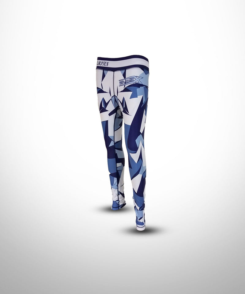 Evo9x SHATTER Full Dye Sublimated Compression Legging White/Blue