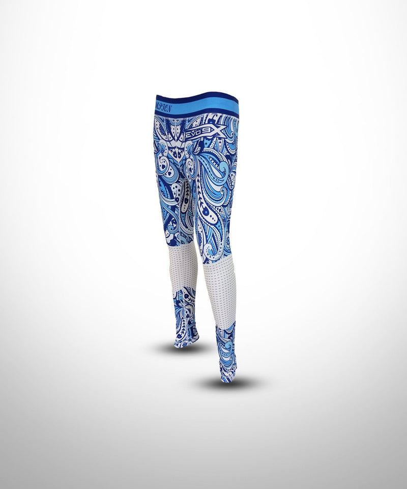 Evo9x FRENCH CURVE Full Dye Sublimated Compression Leggings Blue/White
