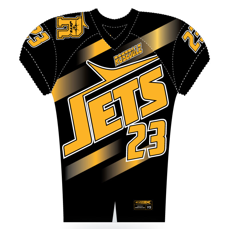 ROSEDALE JETS SUBLIMATED FAN JERSEY BLK GLD
