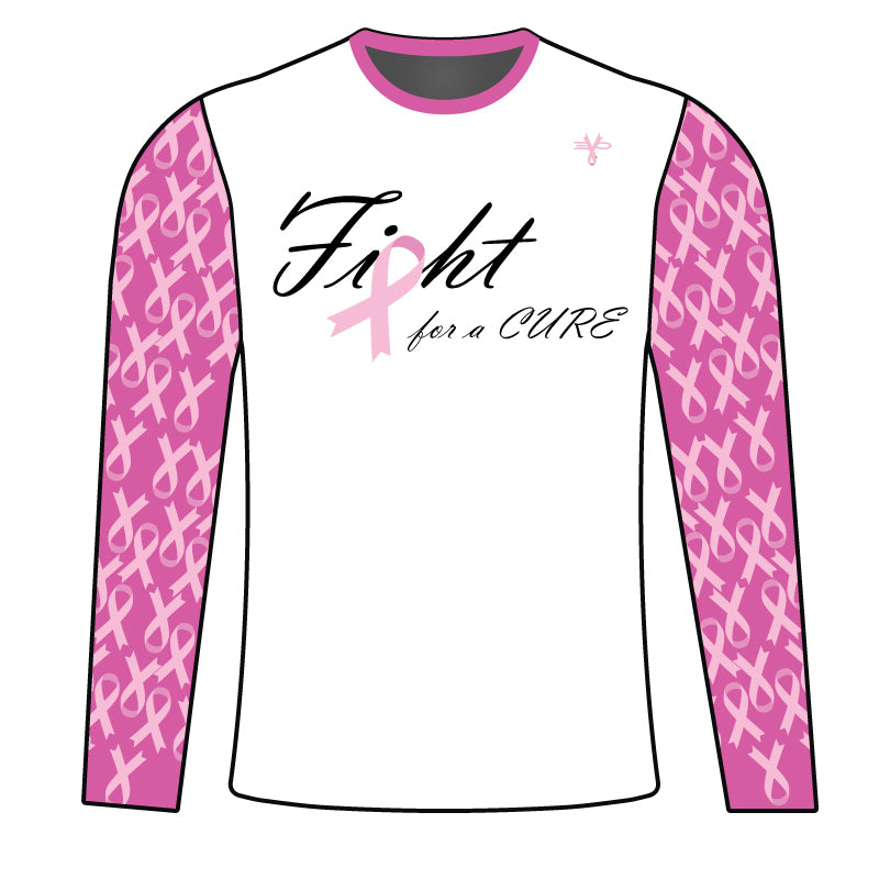 WOMENS EVO FIGHT FOR THE CURE BREAST CANCER LONG SLEEVE SHIRT