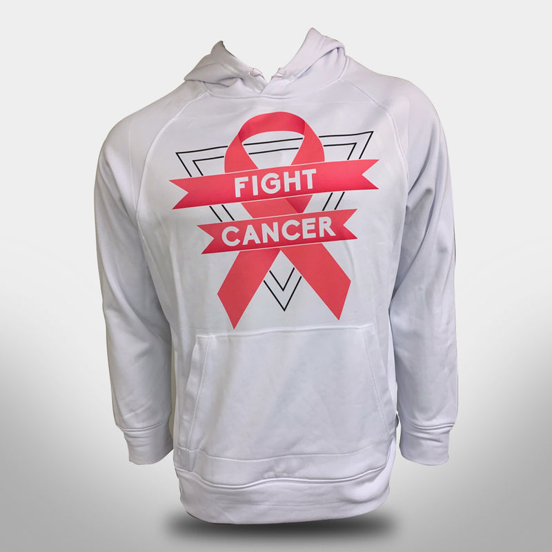 Evo9x FIGHT CANCER Sublimated Breast Cancer Awareness Hoodie White