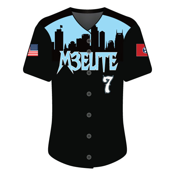 Evo9x M3 ELITE Full Dye Sublimated Full Button Jersey Black