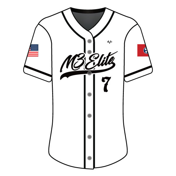 Evo9x M3 ELITE Full Dye Sublimated Full Button Jersey White