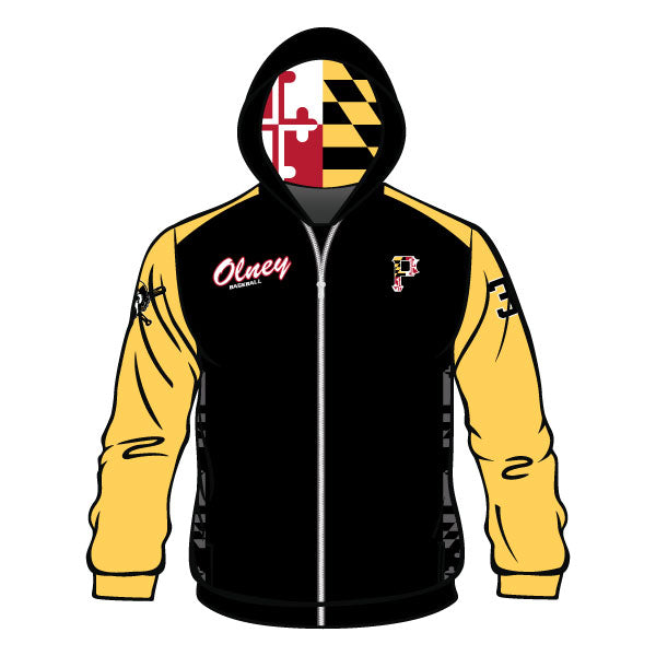 OLNEY PIRATES BASEBALL FULL ZIP HOODIE (BLACK W/ ATHLETIC GOLD SLEEVES)