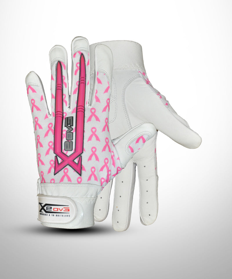 Baseball Batting Gloves White with Pink ribbon