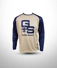 Full dye sublimated Long sleeve jersey GS-Vegasgold-Navy