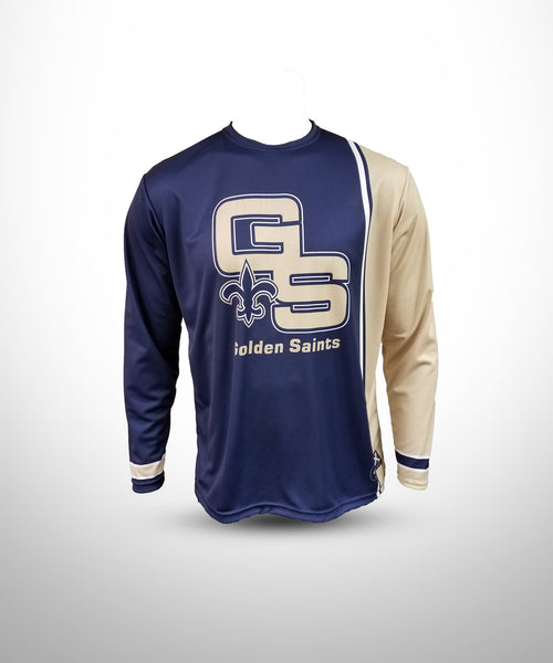 Full dye sublimated Long sleeve jersey GS-Navy-Vegasgold