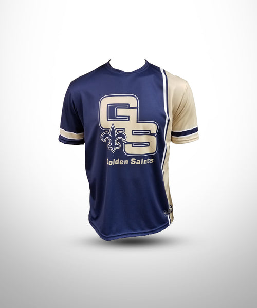 Full dye sublimated Short Sleeves Jersey GS-Navy-Vegasgold