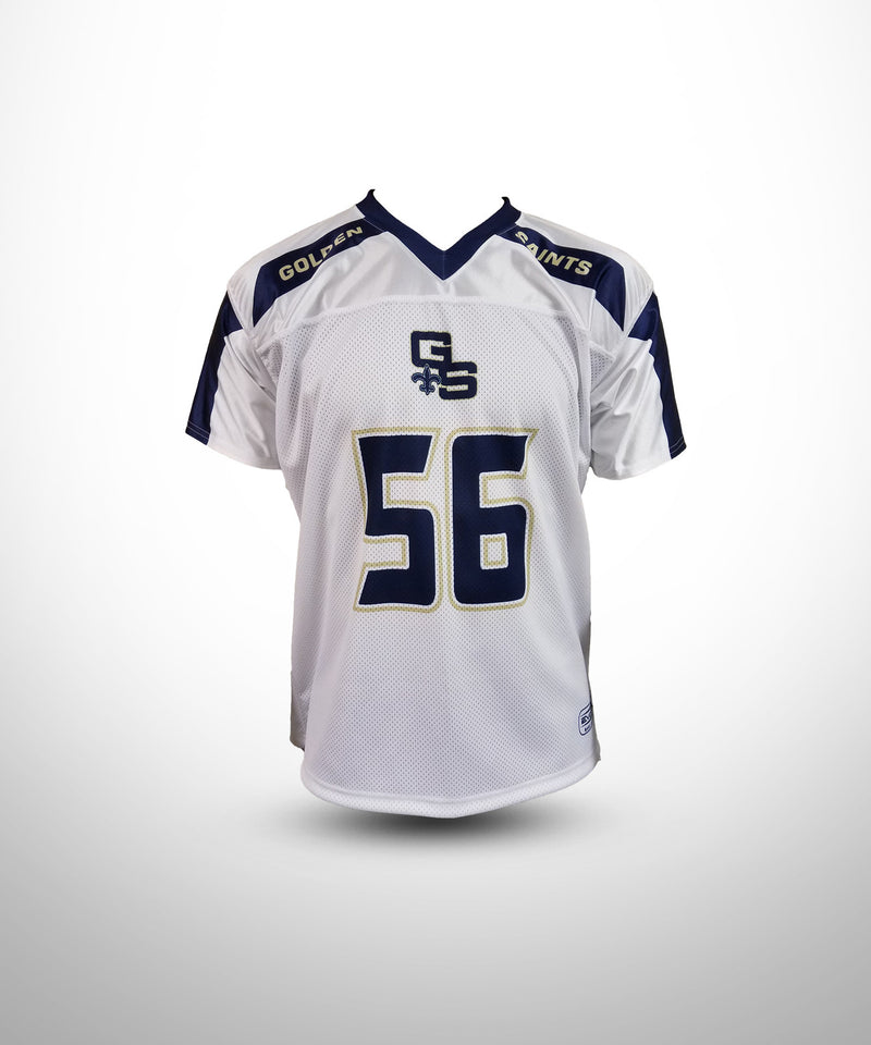 Full Dye Sublimated Fan Jersey WHT GOLDEN SAINTS