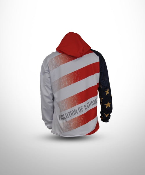 Full Dye Sublimated Hoodie RED STRIPE