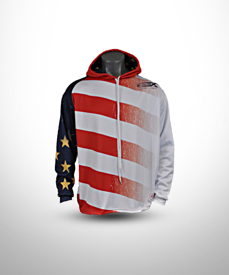 Evo9x STARS & STRIPES Full Dye Sublimated Draw String Hoodie