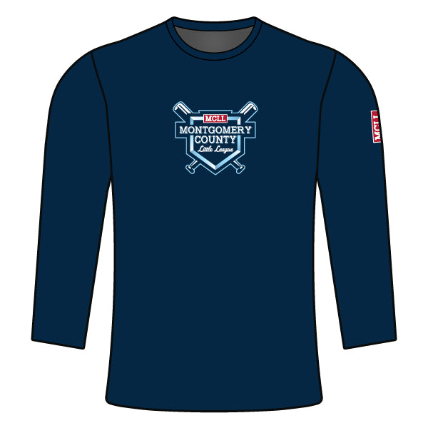 Evo9x MONTGOMERY LITTLE LEAGUE Full Dye Sublimated Long Sleeve Shirt Navy