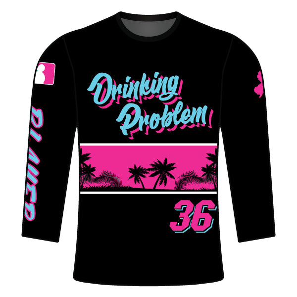 Evo9x DRINKING PROBLEM Full Dye Sublimated Long Sleeve Shirt Black