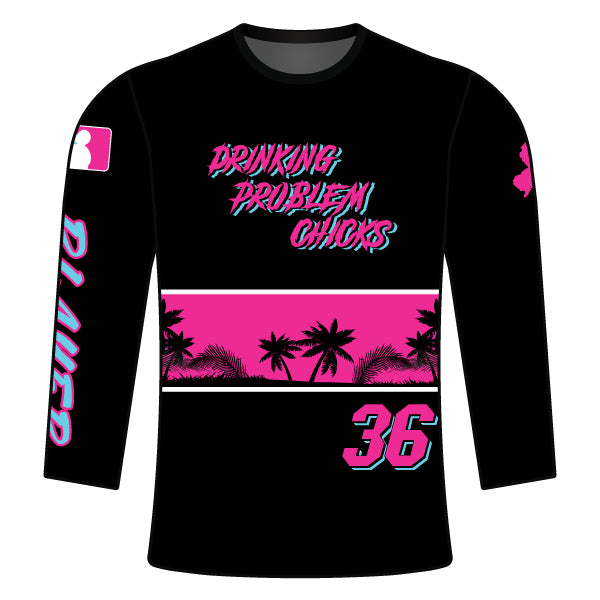 Evo9x DRINKING PROBLEM CHICKS Full Dye Sublimated Long Sleeve Shirt Black