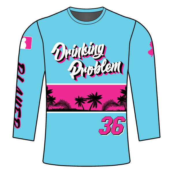 Evo9x DRINKING PROBLEM Full Dye Sublimated Long Sleeve Shirt Light Blue