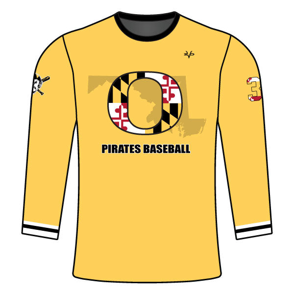 OLNEY PIRATES BASEBALL LONG SLEEVE CREW NECK SHIRT (ATHLETIC GOLD)