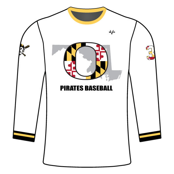 OLNEY PIRATES BASEBALL LONG SLEEVE CREW NECK SHIRT (WHITE)