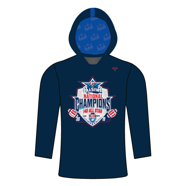NATIONAL CHAMPION LOGO LIGHTWEIGHT LONG SLEEVE HOODIE