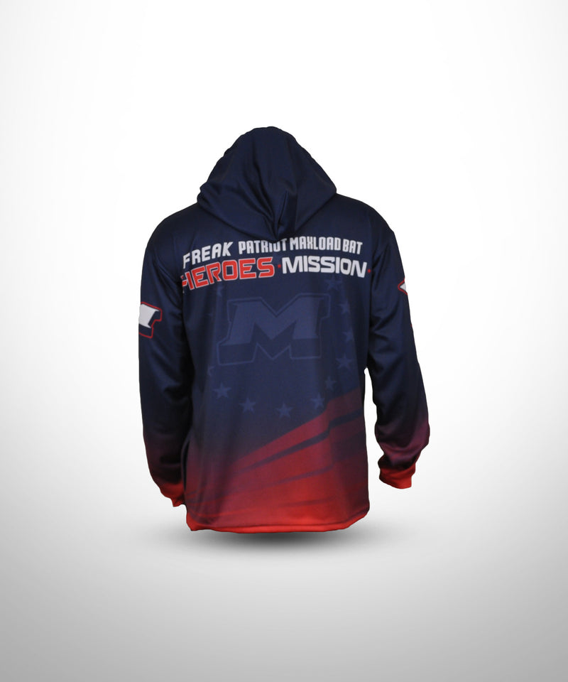 Full Dye Sublimated Hoodie NVY RED PATRIOT - Evo9xstore