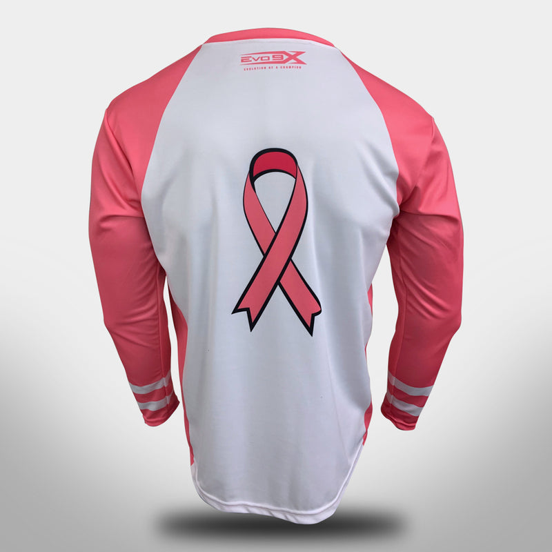 "EVO ""PINK TOUGH"" BREAST CANCER CREW NECK JERSEY- WHITE - LONG SLEEVE"