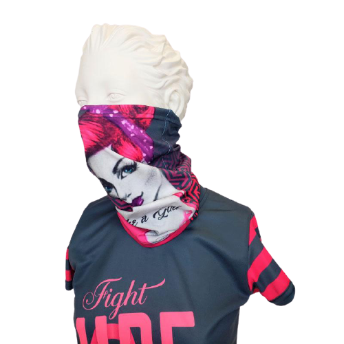 Evo9x FIGHT LIKE A GIRL Breast Cancer Awareness Fabric Face Covering Gaiter