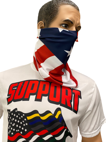 Sublimated Bandana face covering American Flag Made in USA