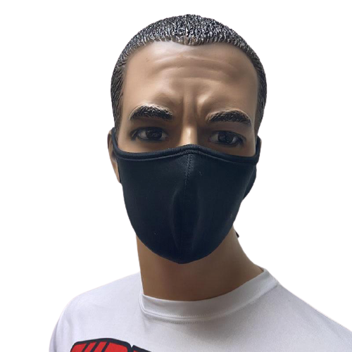 Evo9x Solid Double Ply Tie Back Fabric Face Masks Black - Pack of 10