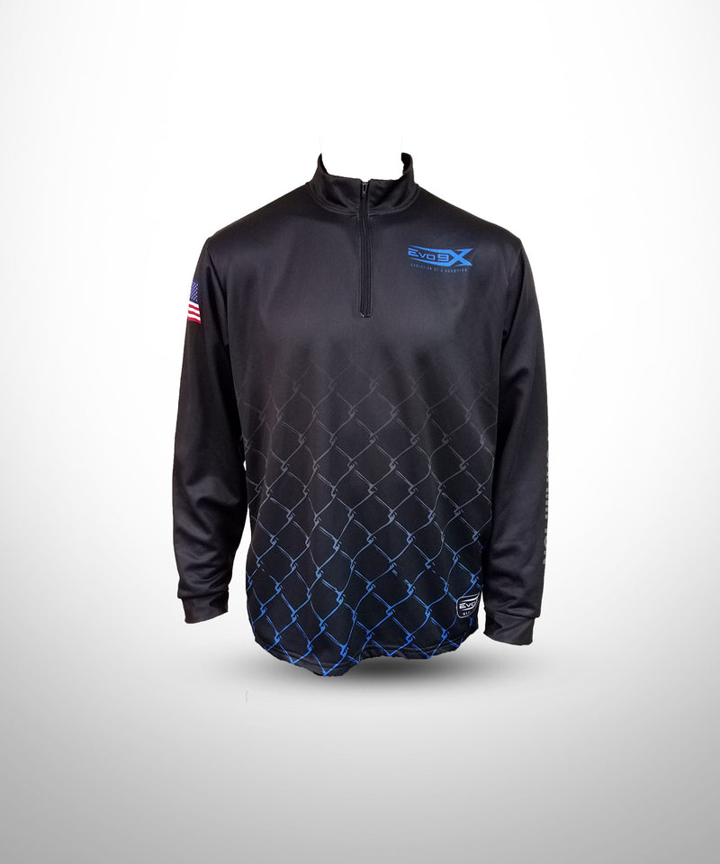Evo9x Full Dye Sublimated Quarter Zipper Long Sleeve Pullover Black