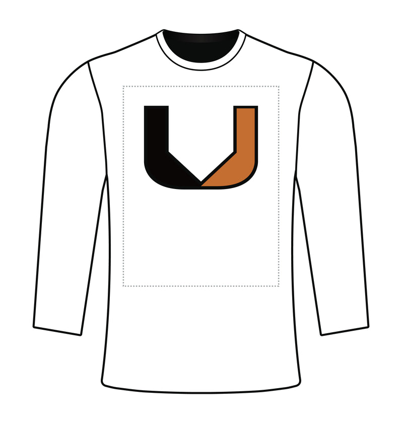 Semi Sublimated Long Sleeve Tee WHT BASEBALL U