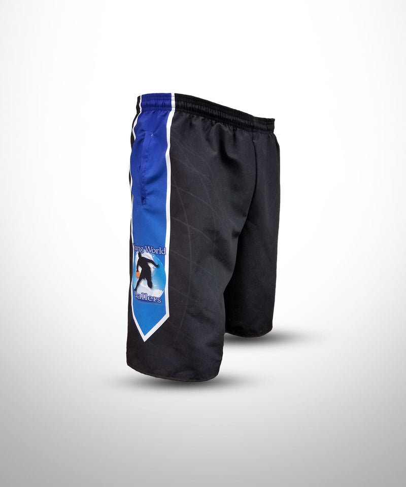 Full Dye Sublimated Micro Fiber Shorts BLK YW BALLERS
