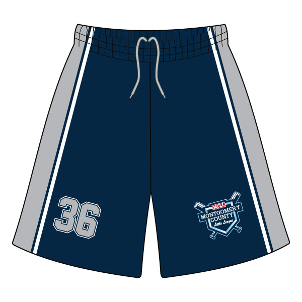 Evo9x MONTGOMERY LITTLE LEAGUE Full Dye Sublimated Shorts