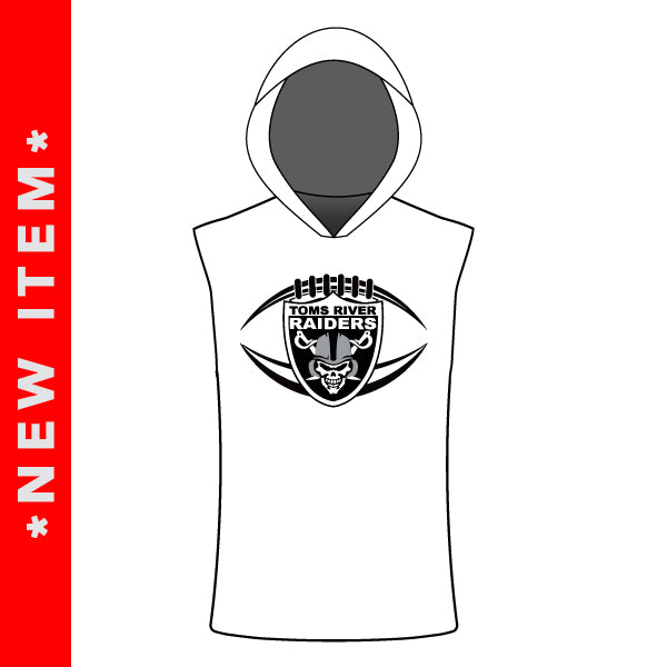 TOMS RIVER RAIDERS SLEEVELESS T SHIRT HOODIE (WHITE)