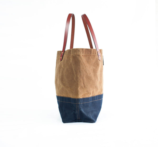 Waxed Canvas and Leather Tote Bag Craft Tote Nutmeg Top