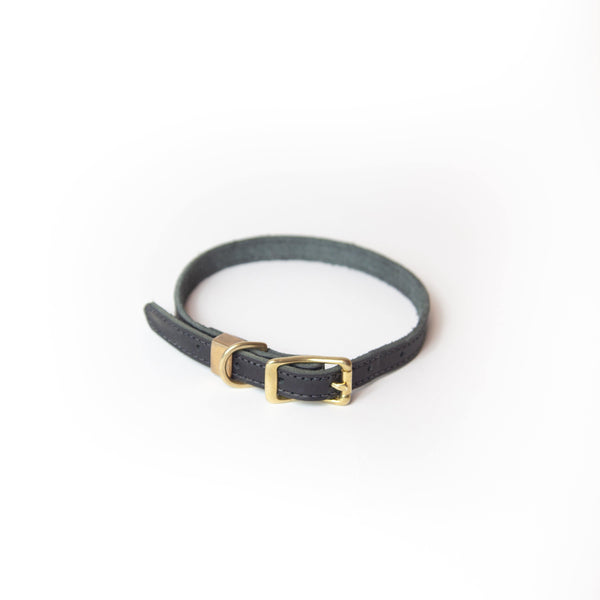 Leather Dog Collar Milled Black