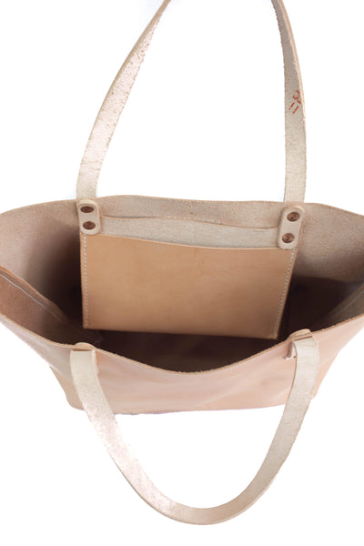 Natural Veg Tanned Leather Tote Purse