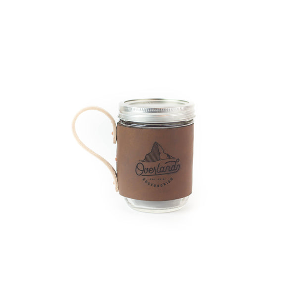 Leather Mason Jar Mug Wrap with Copper Rivets