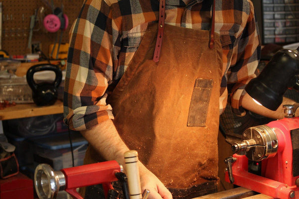 Waxed Canvas and Leather Charles Apron by Sturdy Brothers Brass Hardware