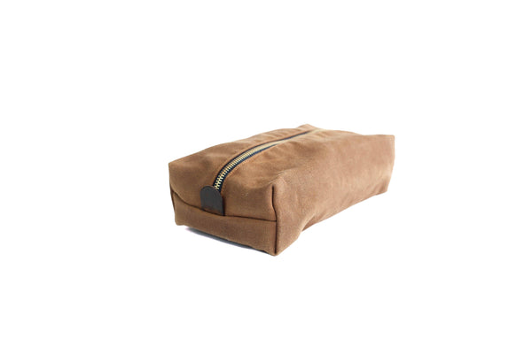Nutmeg Waxed Canvas Toiletry Dopp Kit 14""