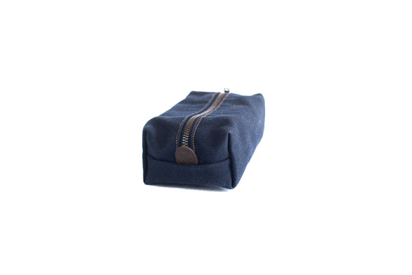 Waxed Canvas Dopp Kit Toiletry Bag Navy 14""
