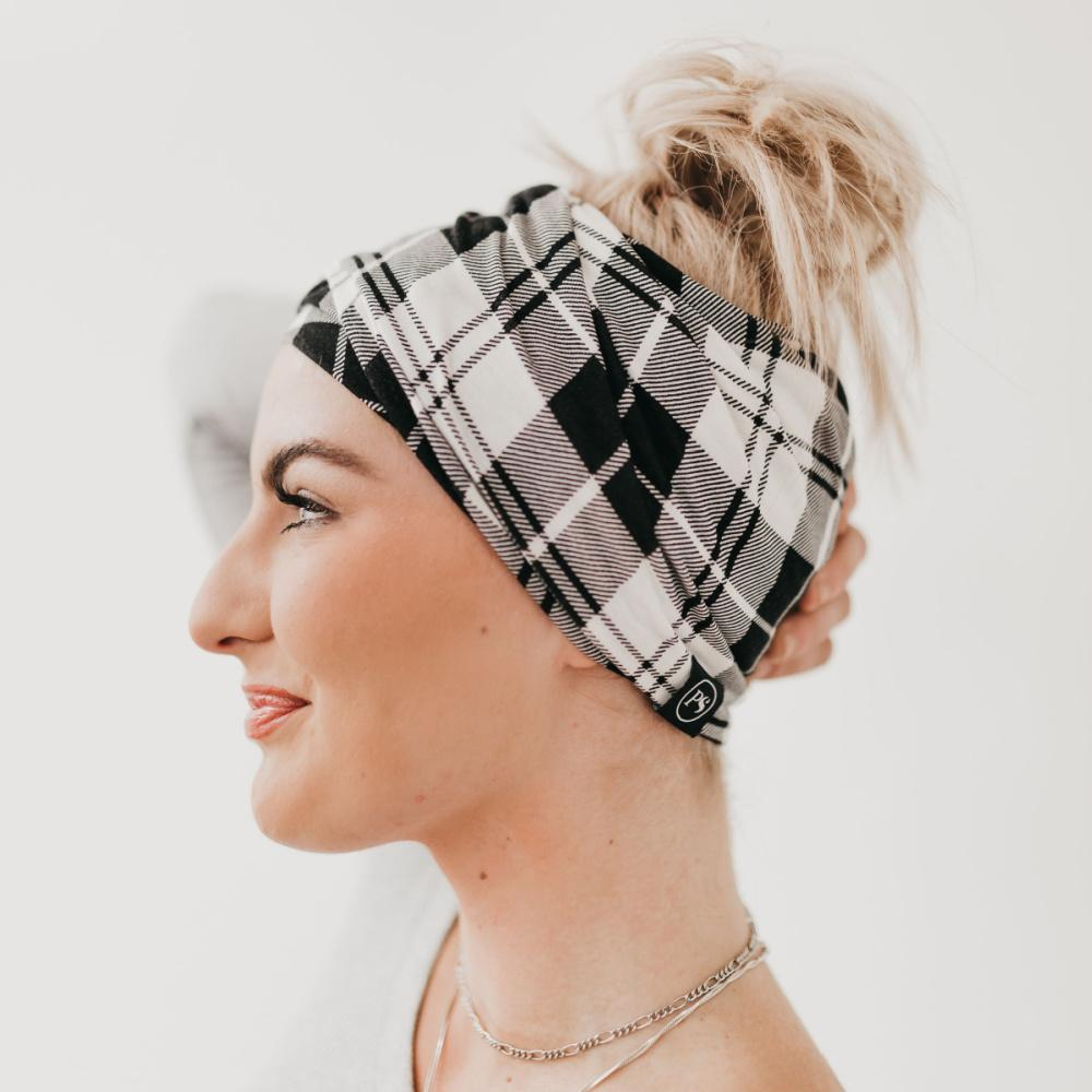 Black and White Plaid Pretty Simple Multi Function Beanie for Face Cover