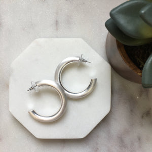 Matte Satin Finish Chunky Hoop Earrings