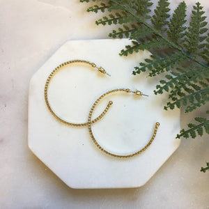Crystal Beaded Hoop Earrings-Wholesale-Pretty-Simple