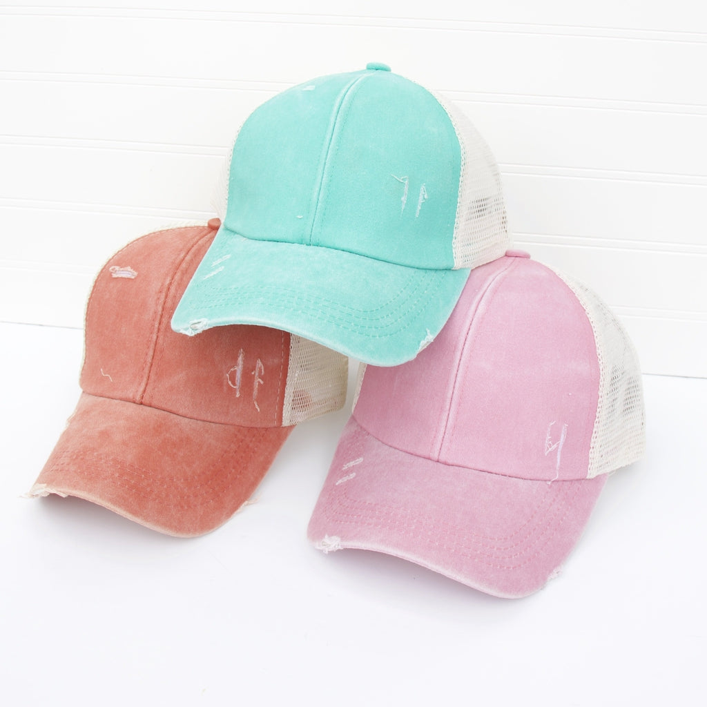Distressed Criss Cross Ponytail Baseball Hat-Wholesale-Pretty-Simple