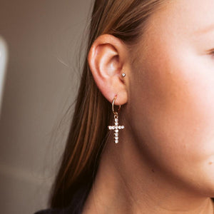 trendy cross jewel hoop earrings