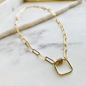 Gold Link Necklace with Cubic Zirconia Accent-Wholesale-Pretty-Simple