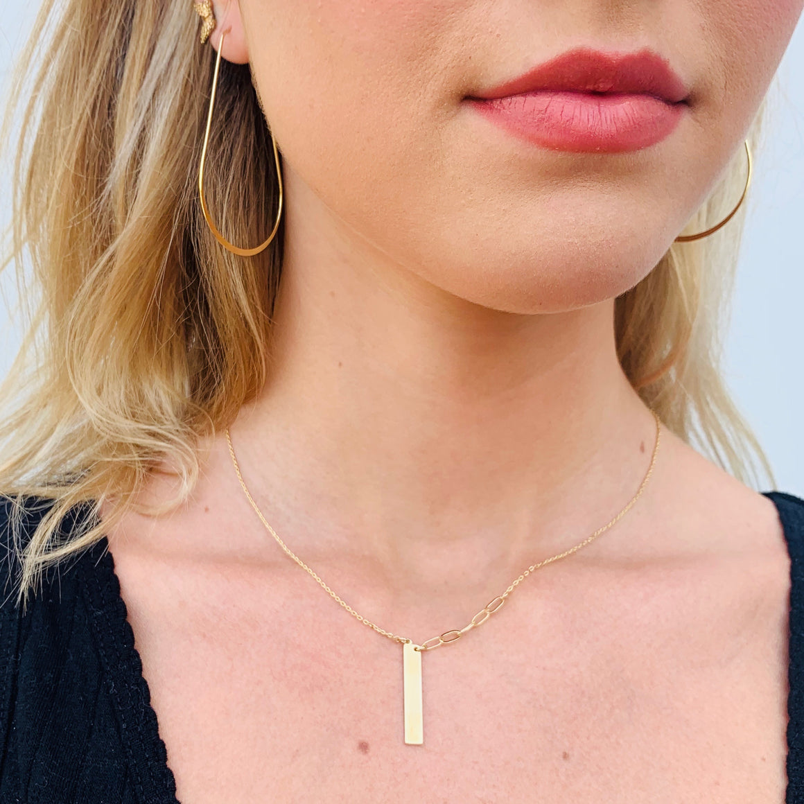 Bar Half Side Link Necklace